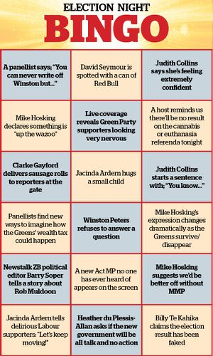 Election Results 2020 Play Election Night Bingo What Will Our Politicians Say Next Nz Herald